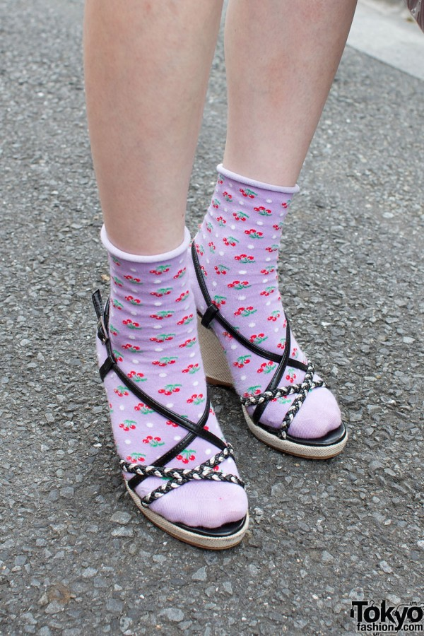 Lilac cherry socks & platform sandals