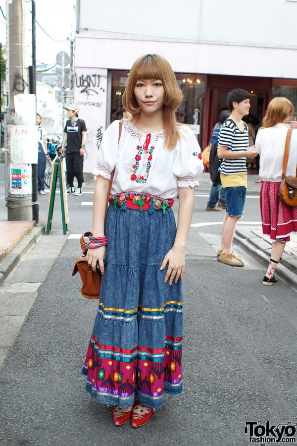 Peasant Blouse & Embellished Denim Skirt