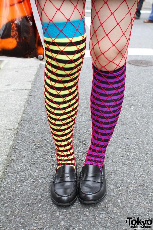 Long striped socks & fishnet stockings
