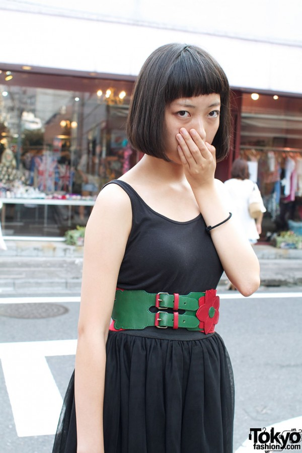 Wide leather bellt & Uni-qlo belt