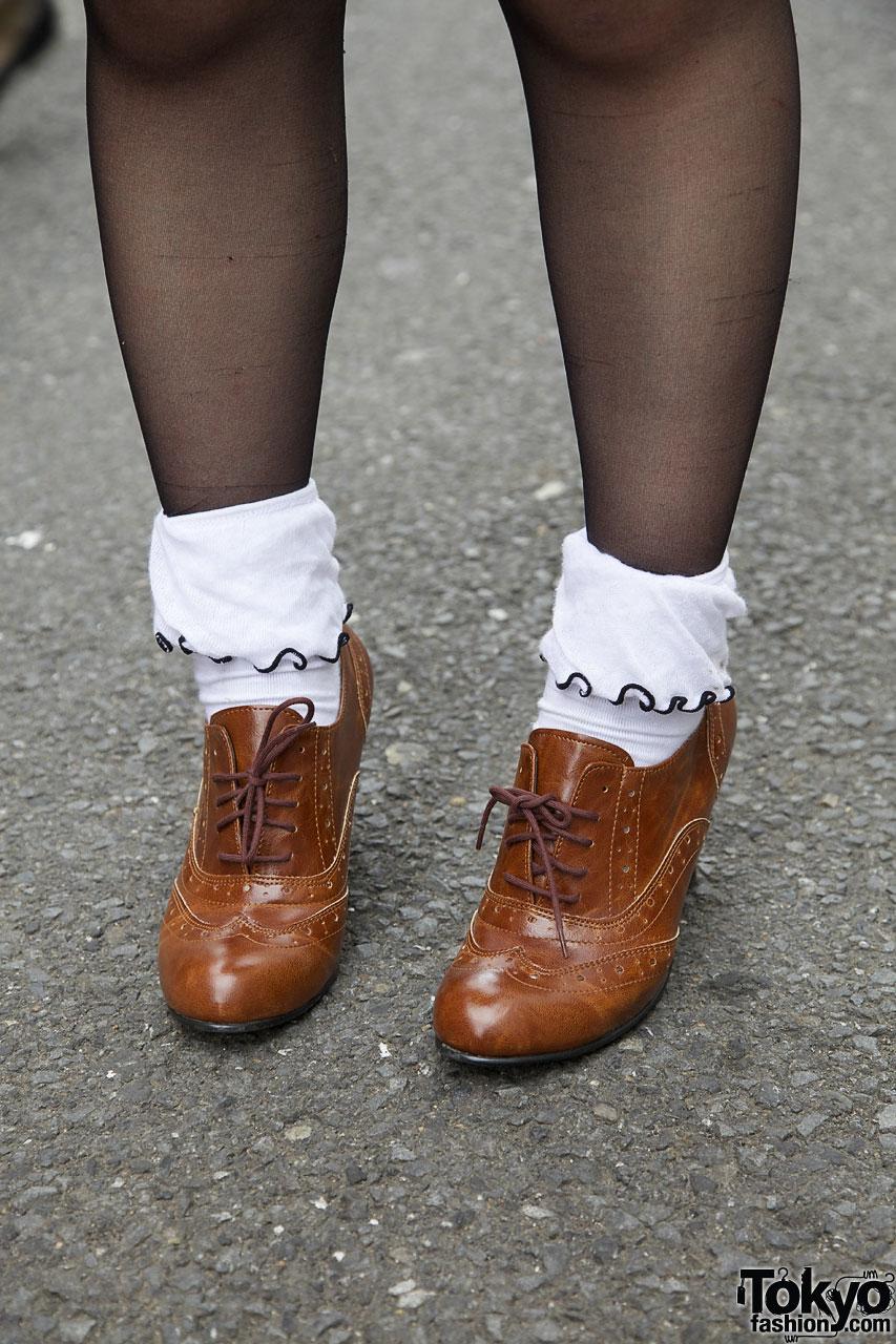 Retro Peasant Blouse  Short Denim Skirt
