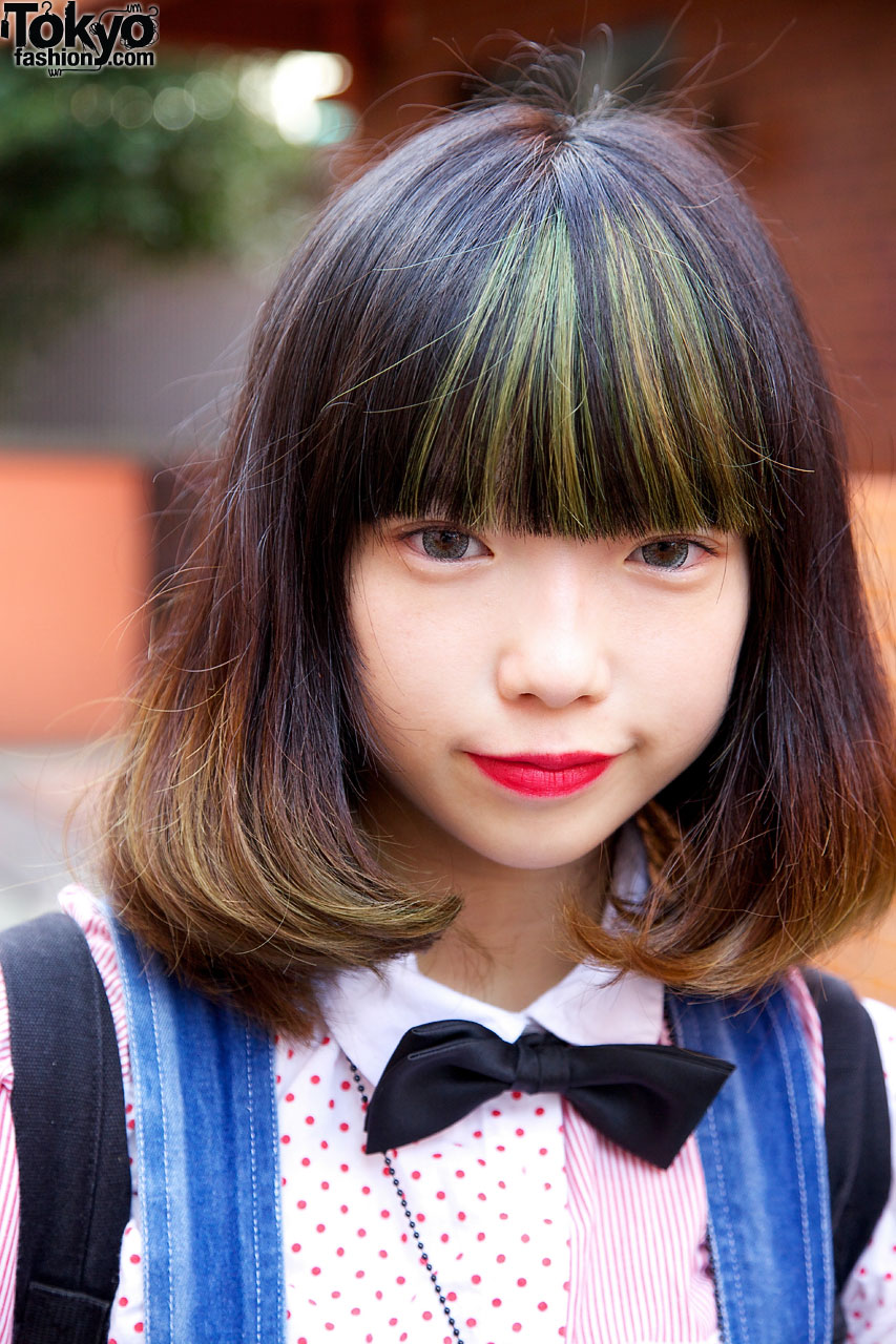 Harajuku Girls Remade Overalls Bow Tie  Soccer Socks