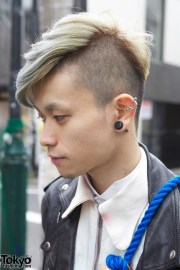 harajuku guy's silver hair tasseled