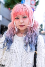 dip dye hair cable knit sweater