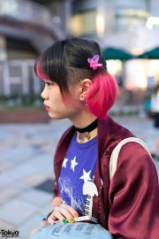 pink twintails hairstyle & american