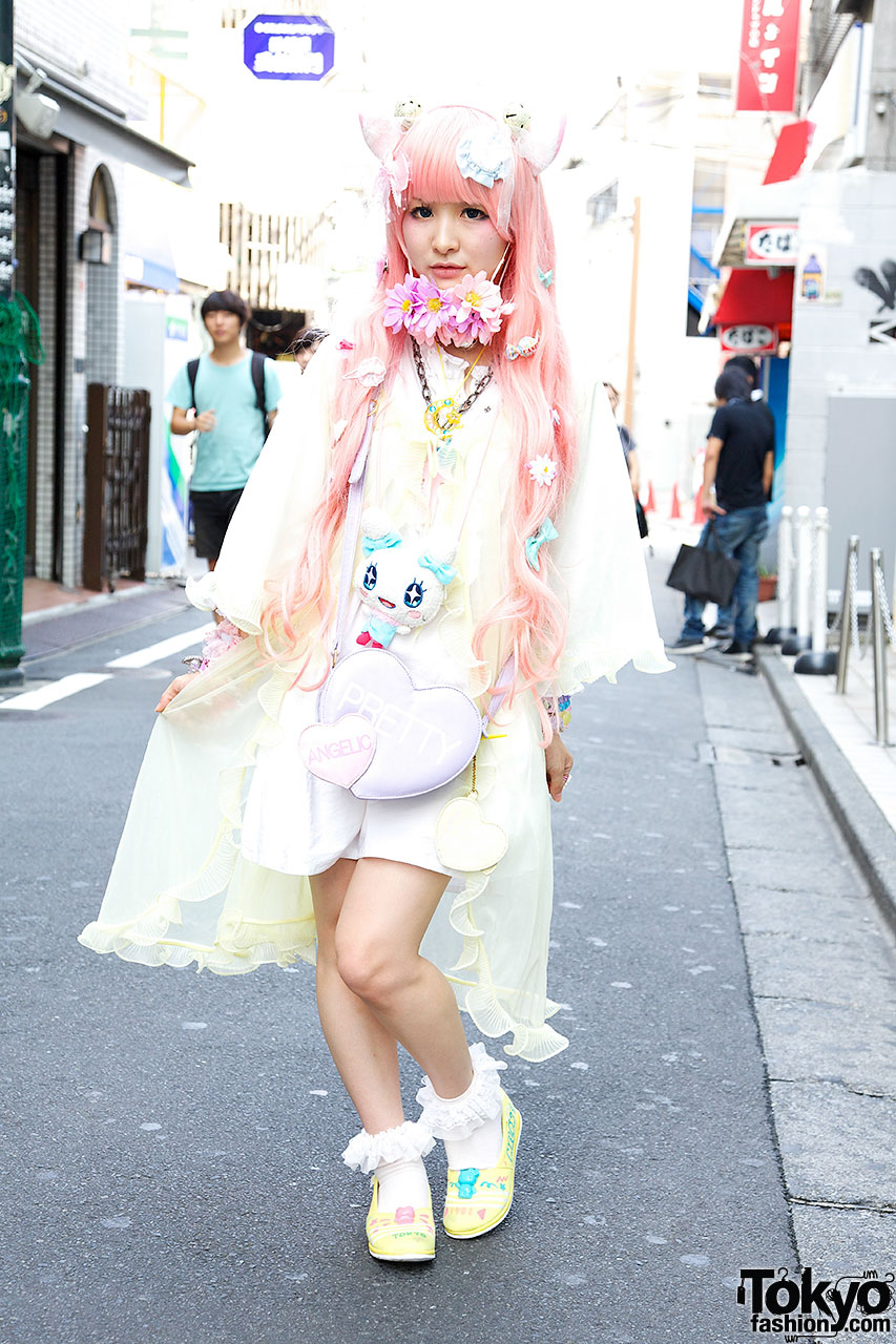 Cat Ears Pink Hair Flowers Hello Kitty  Angelic Pretty