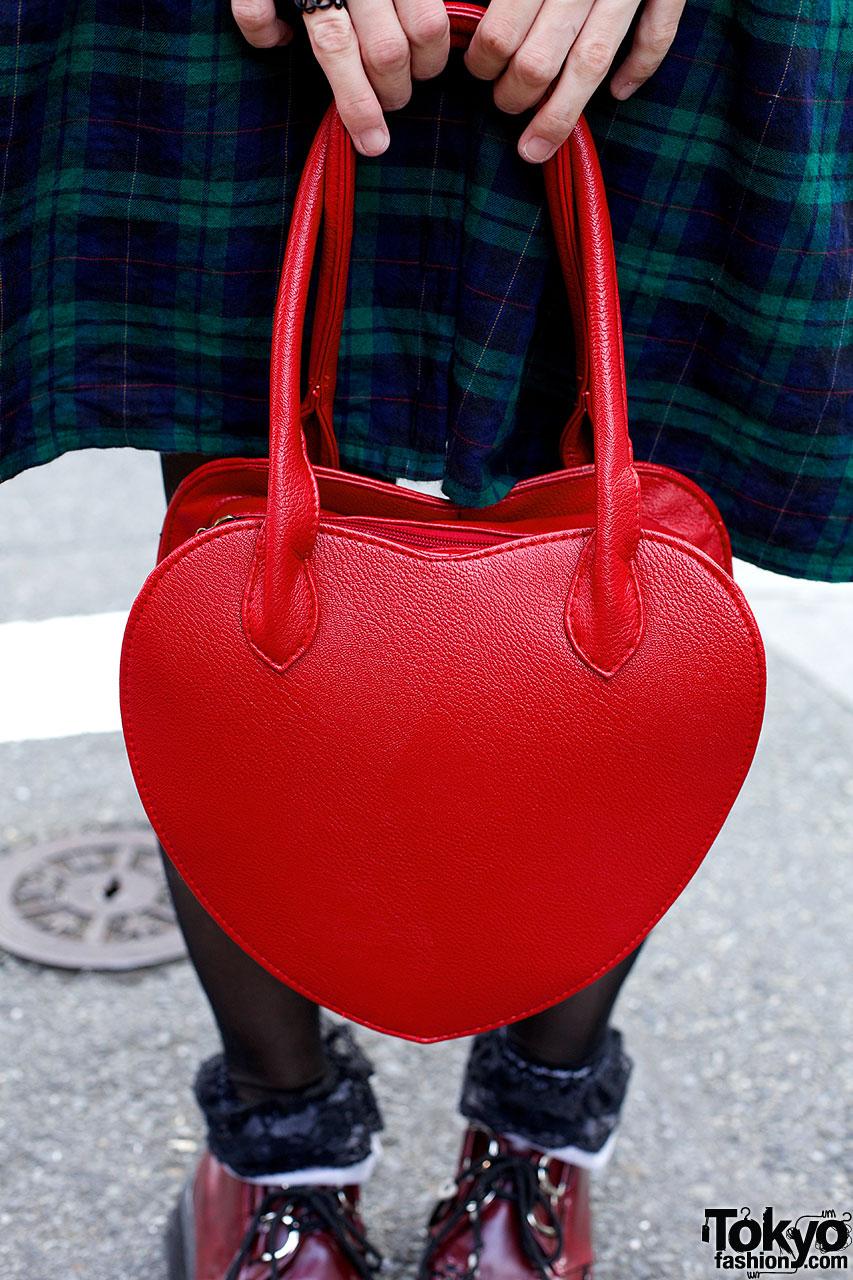 Blonde Bob Plaid Dress Round Glasses  Heart Handbag in