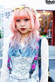 pink-blue dip dye hair silver