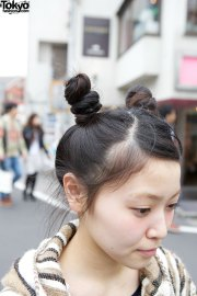 twin buns with woven coat uniqlo