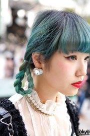 blue-green braids corset top