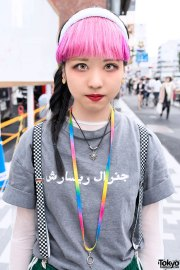 pink bangs hairstyle with buckle