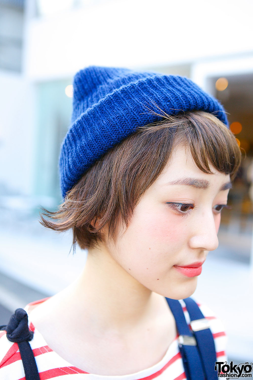 Cute Short Hairstyle Muji Stripes Plaid  Retro Nike in