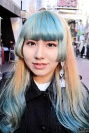 green bangs hairstyle sheer skirt