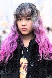 pink dip dye hair furry jacket