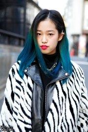 blue ombre hair zebra print jacket