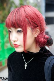 cute red hairstyle bubbles harajuku