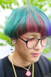 harajuku guy with rainbow hair glasses