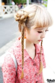 cute braids hairstyle floral dress