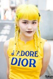 yellow hair in braids 'adore