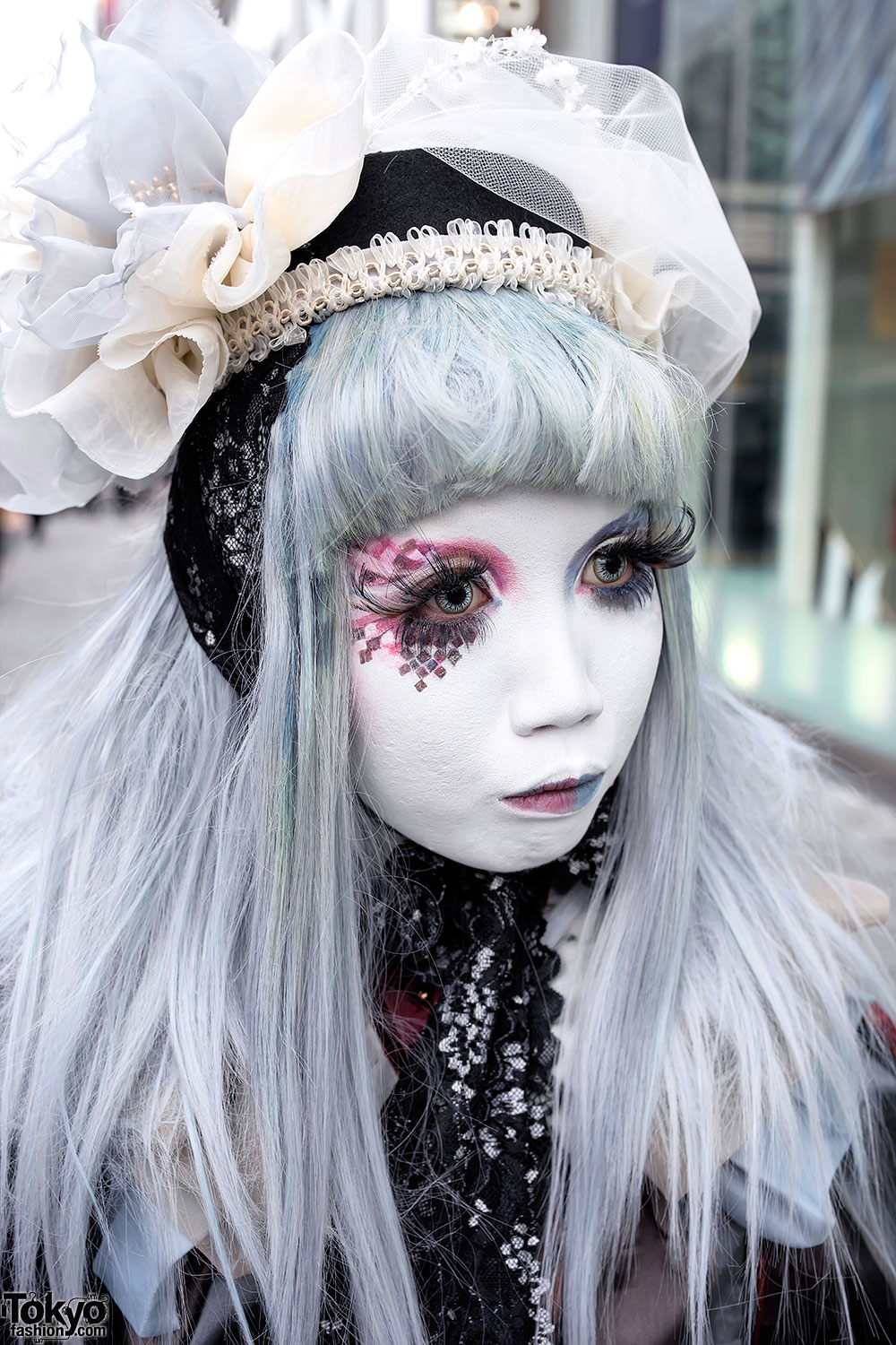 Shironuri Minori in Harajuku w Blue  Red Eye Makeup Lace  Vintage Items