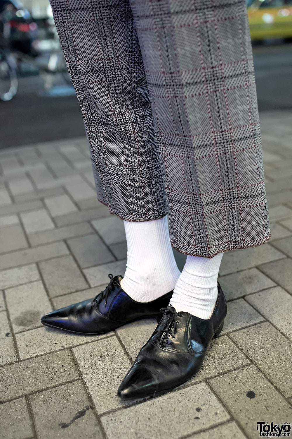 Harajuku Guys Plaid Cropped Suit Pointy Dress Shoes Hat
