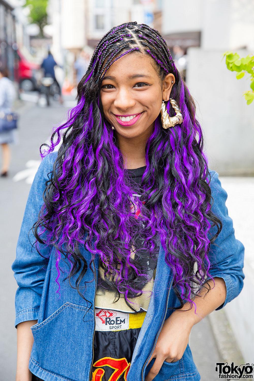 Harajuku Girl W Purple Hair Pin Nap Fashion Nike Amp Fishnets