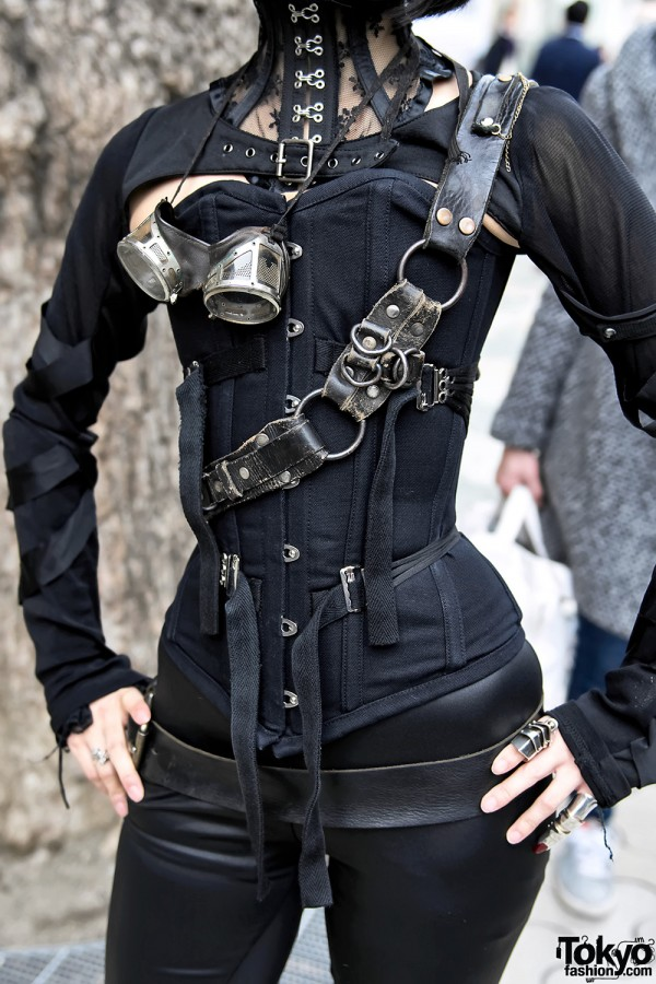 Japanese Steampunk Street Style w Ozz On  Pure One Corset Works