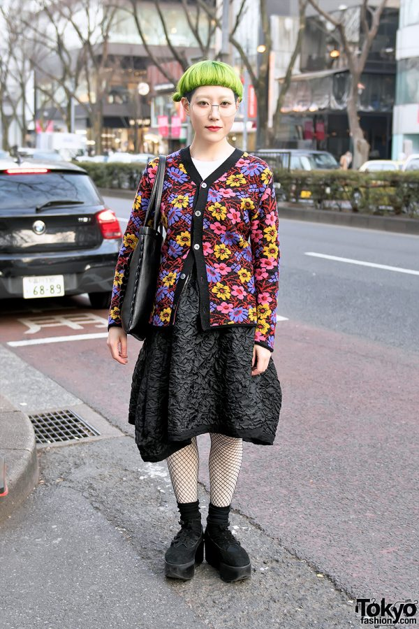 Neon Haired Harajuku Girl in Comme Des Garcons and Tokyo Bopper Street Style