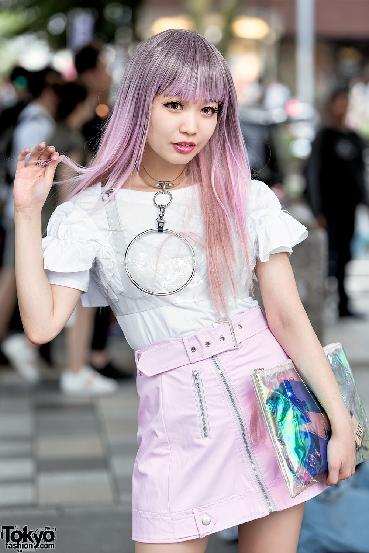 J Pop Singer In Harajuku W Pink Plaid Vinyl Skirt O