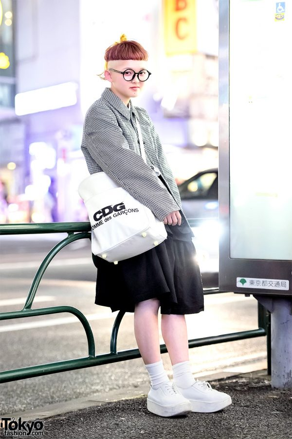 Harajuku Girl w/ Shaved Hairstyle in Comme Des Garcons & Tokyo Bopper Street Style