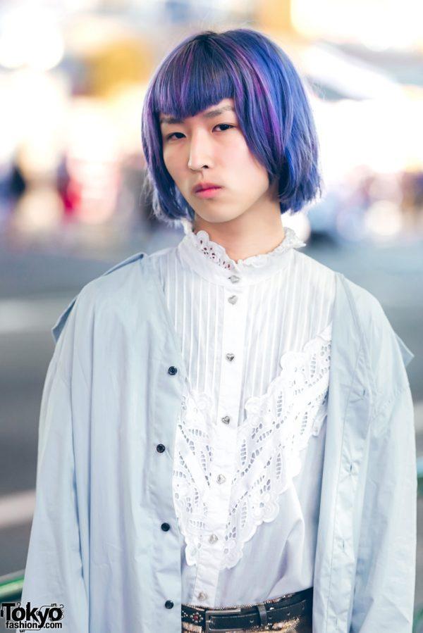 Purple Haired Harajuku Guy In Ruffles W Chin Mens The