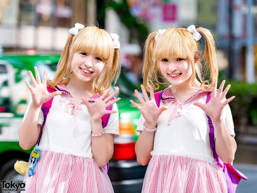 cute japanese twins in pink and white