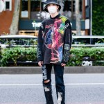 Cote Mer Graphic Streetwear Style W Bucket Hat Face Mask Patchwork Sweatshirt Ripped Pants Balenciaga Chunky Sneakers Tokyo Fashion