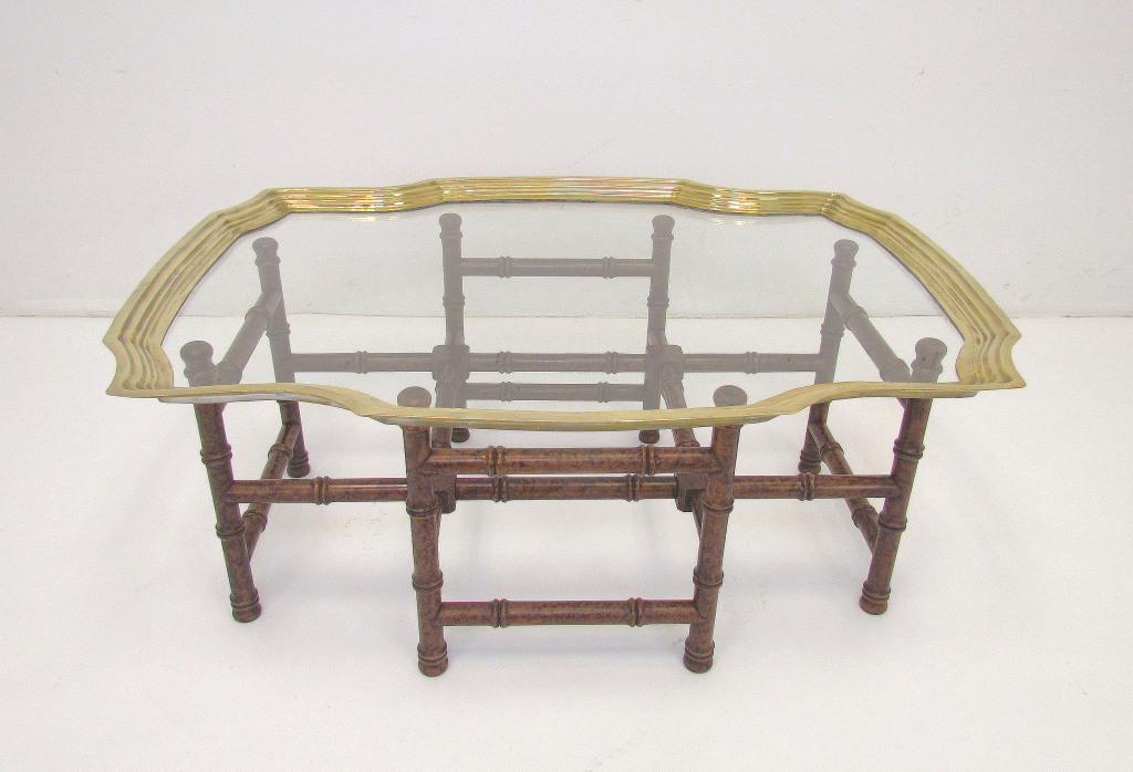 A clear choice vintage baker brass and glass coffee table for Brass and glass coffee table