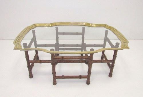 Baker glass brass coffee table rectangle ModHaus 1stdibs