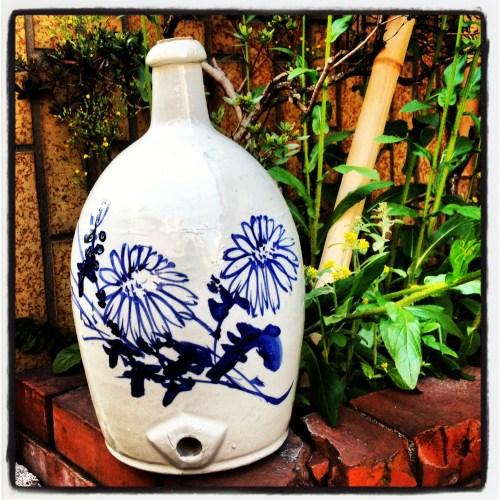 flowered sake jug