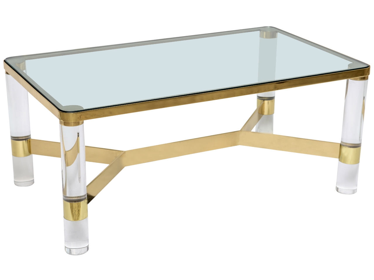 Coffee table for Lucite and brass coffee table