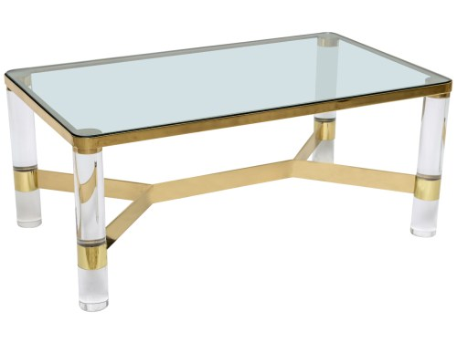 Karl Springer lucite and brass coffee table 1st dibs