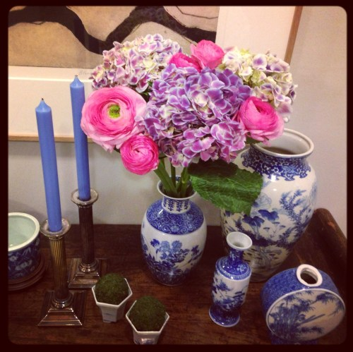 Friday flowers hydrangea and ranunculus blue white porcelain