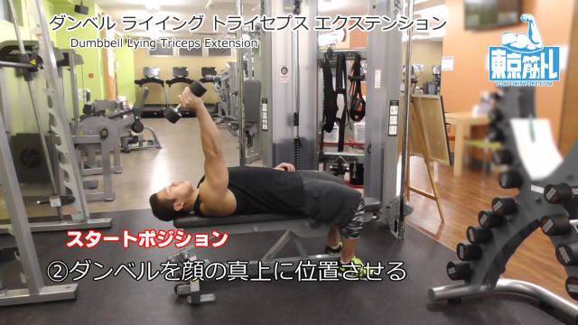 ダンベルライイングトライセプスエクステンション(Dumbbell Lying Triceps Extension)のやり方とフォーム