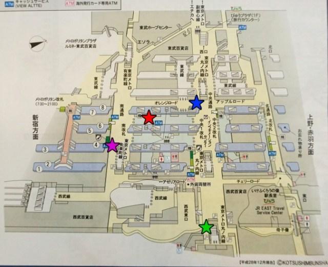 池袋コインロッカー機地図