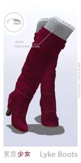 Tokyo.Girl . Lyke Boots . Crimson Red Ad