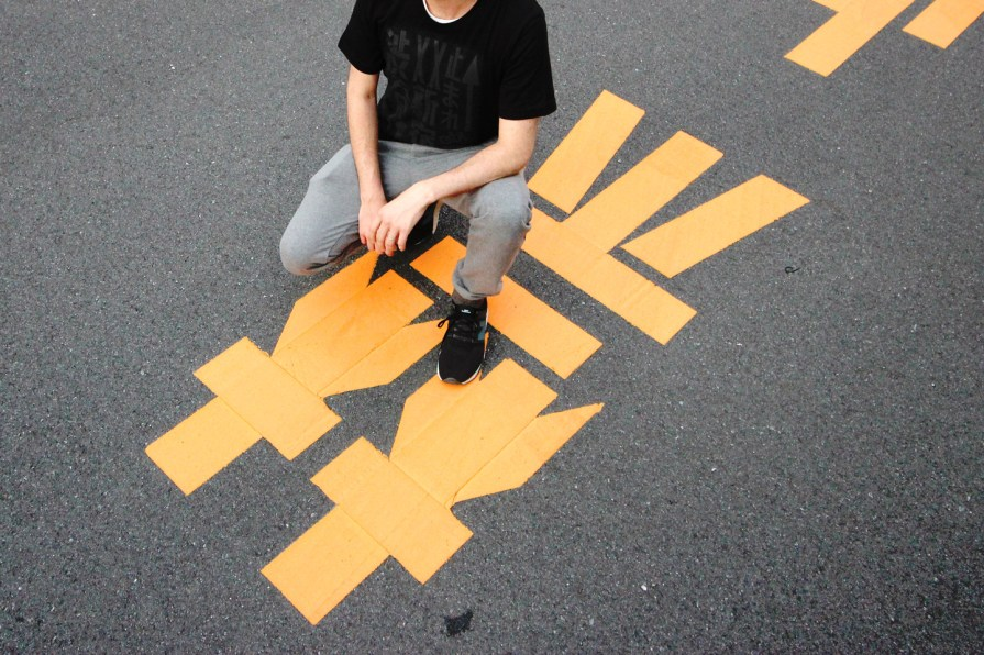 Tokyo Signs™ - Products inspired by the streets of Tokyo - Tokyo Roadmarks T-shirt (Black on Black)