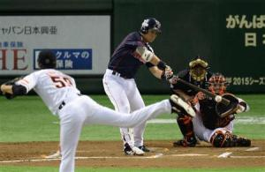 Kawabata singles in the sixth inning.