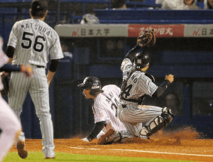 Araki was out at the plate thanks to a heads up play by Fukudome.