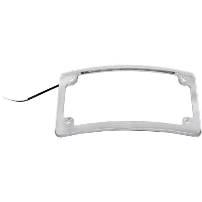 CURVED RADIUS LED LICENSE PLATE FRAME COVER FOR HARLEY MOTORCYCLE Black