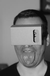 Selfie with the fully assembled Google Cardboard VR goggles