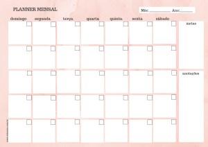 Planner mensal rosa