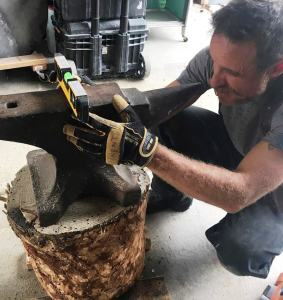 Trent leveling an anvil