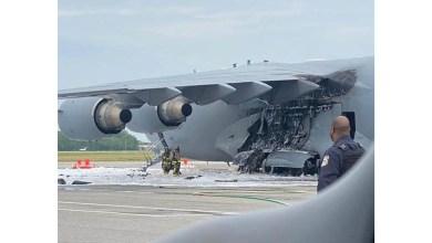 Photo of C-17'nin sol iniş takımı yandı